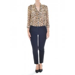 Patrizia Pepe - WOMEN'S SUIT LONG MIX FABRIC SHIRT WITH ANIMAL PRINT AND ROUCHES 8P0090 A2AY