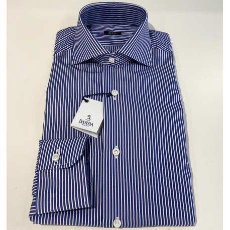 SHIRT MAN BARBA NAPOLI WHITE STRIPED BLUE I1U13P01664124U