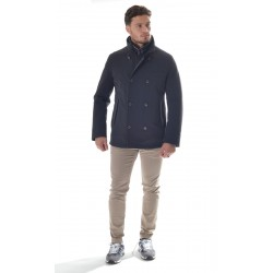 Montecore - Double-breasted men's jacket in technical fabric padded with down F01MUCX521-103